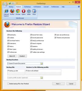 FavBackup - резервное копирование профиля веб-браузера