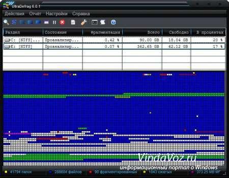 UltraDefrag дефрагментация дисков на высшем уровне