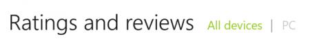 Последнее обновление для магазина приложений позволяет фильтровать рейтинг и отзывы в зависимости от устройства