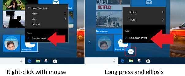Новый SDK для Windows 10 позволяет создавать списки переходов с быстрыми действиями для универсальных приложений